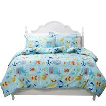 Toddler Bedding Sets Ocean Bedding Blue Fishes Printed Duvet Cover Set 3-Piece Twin Size (No Comforter Included)
