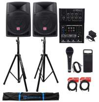 """2) Rockville RPG12 12"""" Active 800w DJ PA Speakers+Mackie Mixer+Stands+Mic+Cables"""