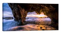 LightFairy Glow in The Dark Canvas Painting - Stretched and Framed Giclee Wall Art Print - Beach Ocean El Matador Beach - Master Bedroom Living Room Decor - 6 Hours Glow - 32 x 16 inch