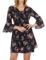 Kate Kasin Women's Floral Printed Swing Casual T Shirt Dresses 3/4 Sleeves Summer V Neck Dress