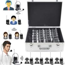 EXMAX EX-938 Wireless Headset Microphone Audio Tour Guide System for Church Translation Teaching Travel Simultaneous Interpretation.(1 Transmitter 20 Receivers with Silver Aluninum Storage Case)