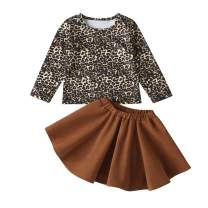 Kids Toddler Baby Girls Outfits Long Sleeve Leopard T-Shirt Top Solid Color Tutu Skirt Clothes Set