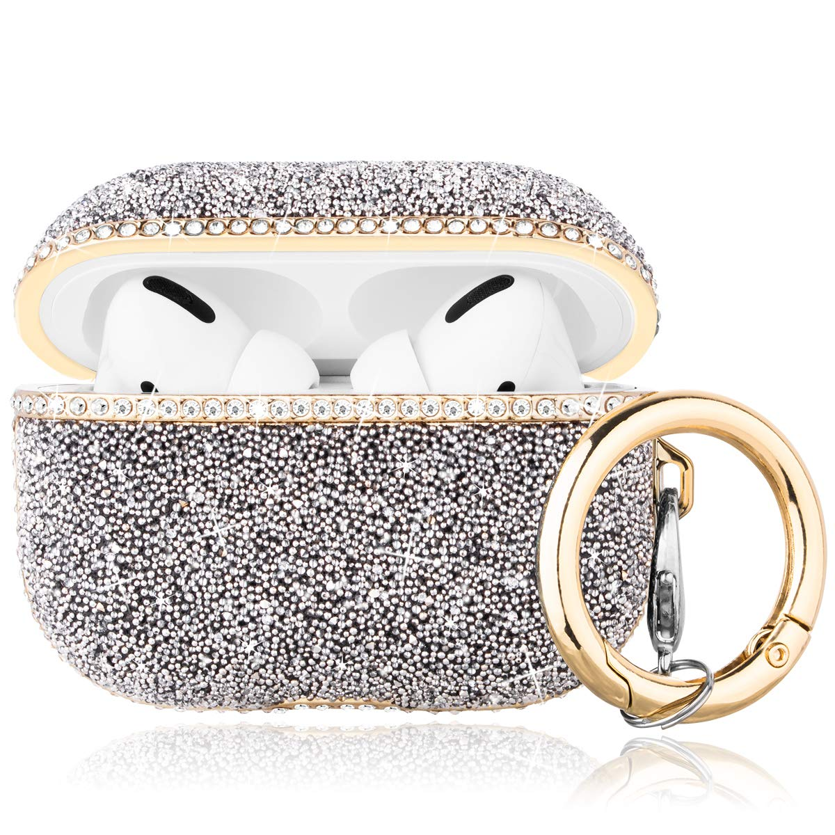 Caka Diamond Case for AirPods Pro Glitter Case for Women Girls Crystal Diamond Rhinestone Bling Shiny Protective with Keychain Cute Case Cover for AirPods Pro (Silver)