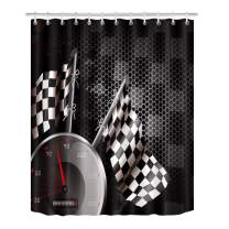 LB Polyester Bath Curtain Shower Curtain 72x72 inch Nice Bathroom Decor F1 Car Racing White Black