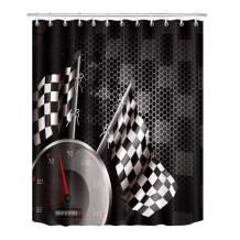 LB Polyester Bath Curtain Shower Curtain 72x72 inch Nice Bathroom Decor F1 Car Racing White Black