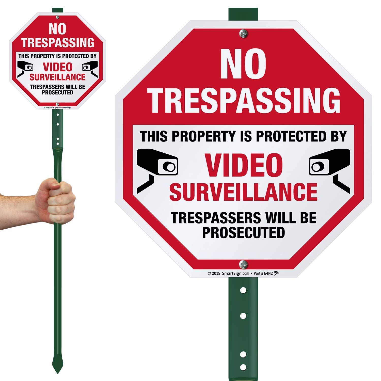 SmartSign No Trespassing Sign with Stake 3' Tall, This Property is Protected by Video Surveillance, Trespassers Will Be Prosecuted Sign for Yard/Lawn/Outdoors | 10 Inch Octagon Aluminum Metal Sign