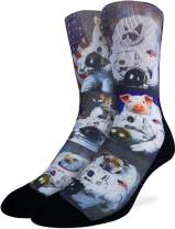 Good Luck Sock Men's Animals Dressed Up As Astronaut Socks, Shoe Size 8-13