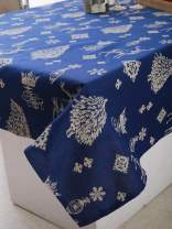 """Plush Home Table Cloth - Indigo Pine Forest, 100% Cotton, Rectangular Table Cloth of Size 60""""X84 Inch, Eco - Friendly & Safe."""