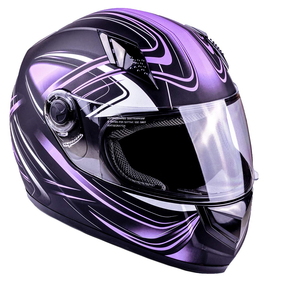 Typhoon Adult Full Face Motorcycle Helmet DOT - SAME DAY SHIPPING (Matte Purple, Small)