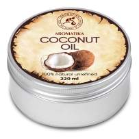 Coconut Oil 7oz - Cocos Nucifera Oil - Indonesia - 100% Pure & Natural Cold Pressed - Best Benefits for Skin Hair Face Body Care - Unrefined Coconut Oils by Aromatika