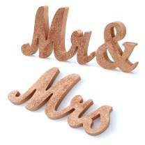 Adeeing Mr and Mrs Signs Wedding Sweetheart Table Decorations, Wooden Freestanding Letters for Photo Props, Rustic Wedding Decoration, Anniversary Wedding Shower Gift (Rosegold)