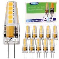 JAUHOFOGEI 10-Pack 2W G4 Base LED Bulb, 12V-24V AC/DC, 20W Glass Halogen Light Bulbs Replacement, Warm White 2800K, JC T3 Lamp for Under Cabinet Puck Light, Chandelier, Landscape Lighting