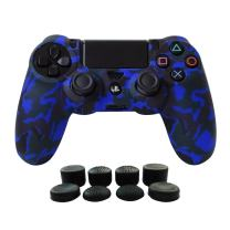 Hikfly Silicone Gel Controller Cover Skin Protector Compatible for Sony Playstation 4 PS4/PS4 Slim/PS4 Pro Controller (1 x Controller Cover with 8 x FPS Pro Thumb Grip Caps)(Blue)