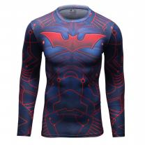 Red Plume Men's Sport Compression Shirt Bat Person Fitness Long Sleeve Top