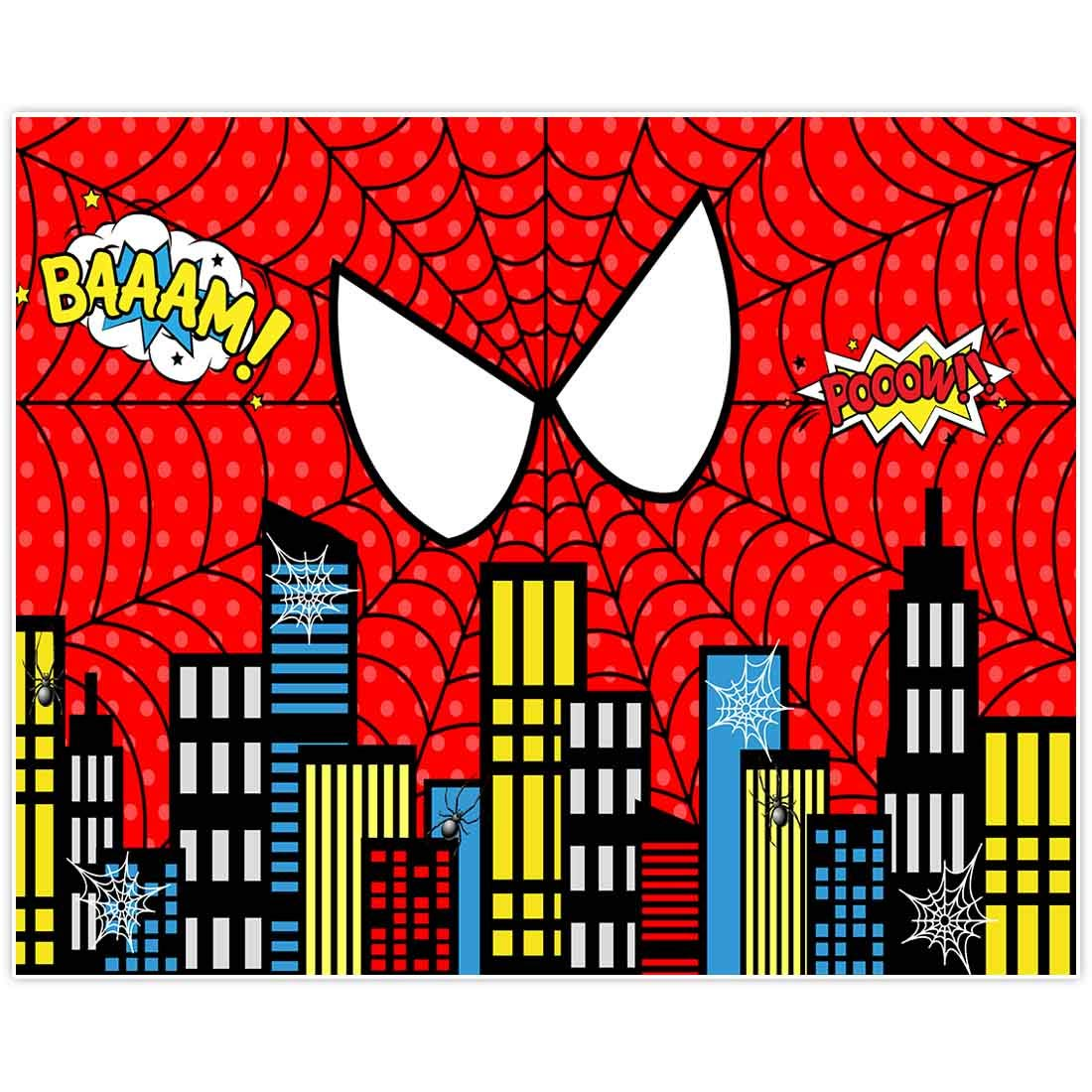 Allenjoy 10x8ft Fabric Red Superhero Cityscape Theme Backdrop for Photography 1st Boys Birthday Party Baby Shower Decorations Family Gathering Background Cake Smash Photo Shoot Photobooth Studio Props