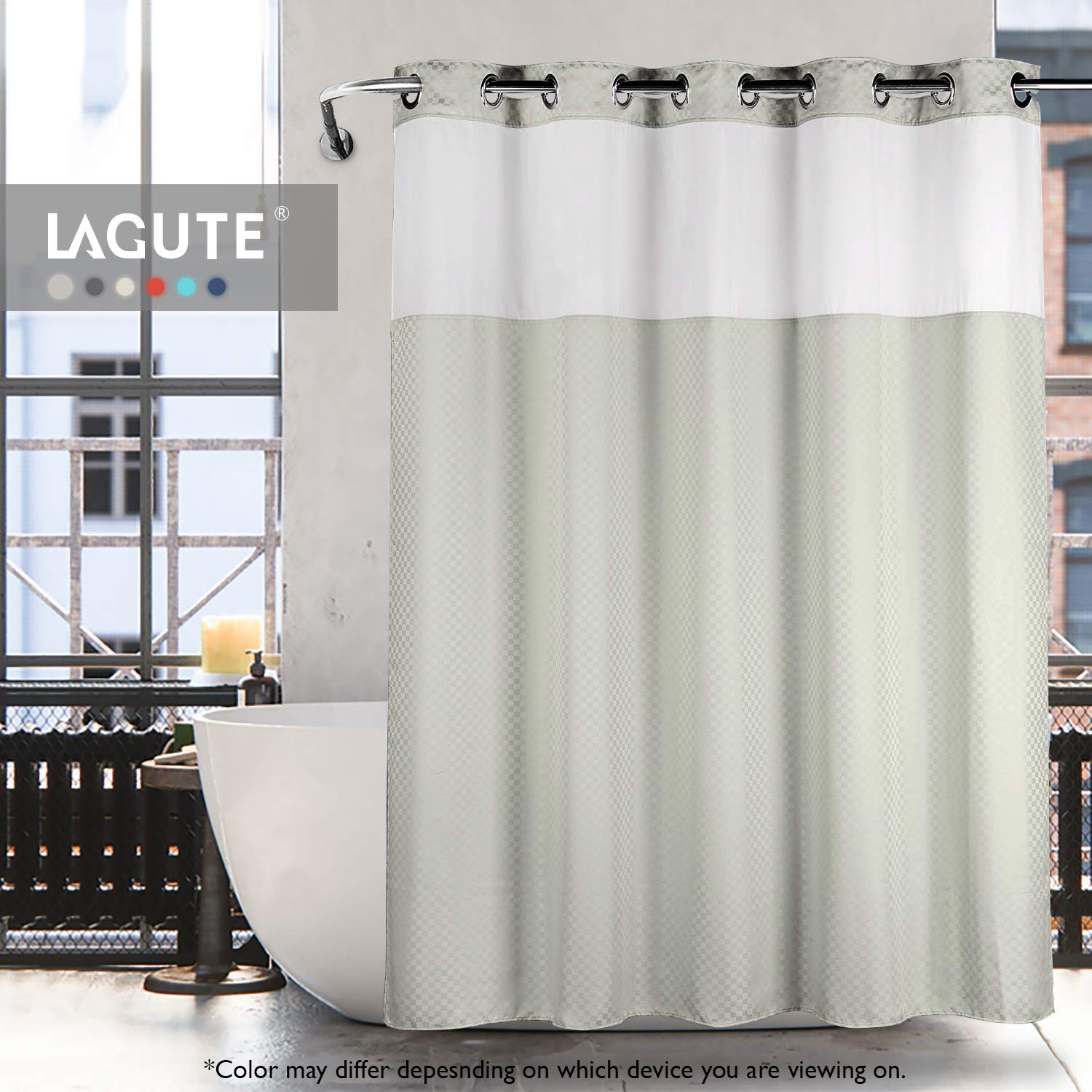 Lagute SnapHook TrueColor Hook Free Shower Curtain | Removable Liner | See Through Top | Machine Washable | Greenish Grey