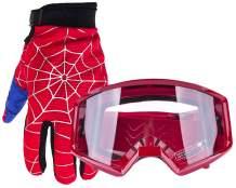 Typhoon Youth Glove & Goggle Combo Motocross ATV Dirt Bike - Blue Red Spiderman - Medium