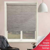 "Chicology Continuous Loop Beaded Chain Roller Shades / Window Blind Curtain Drape, Natural Woven, Privacy - Candyfloss Coal, 31""W X 64""H"
