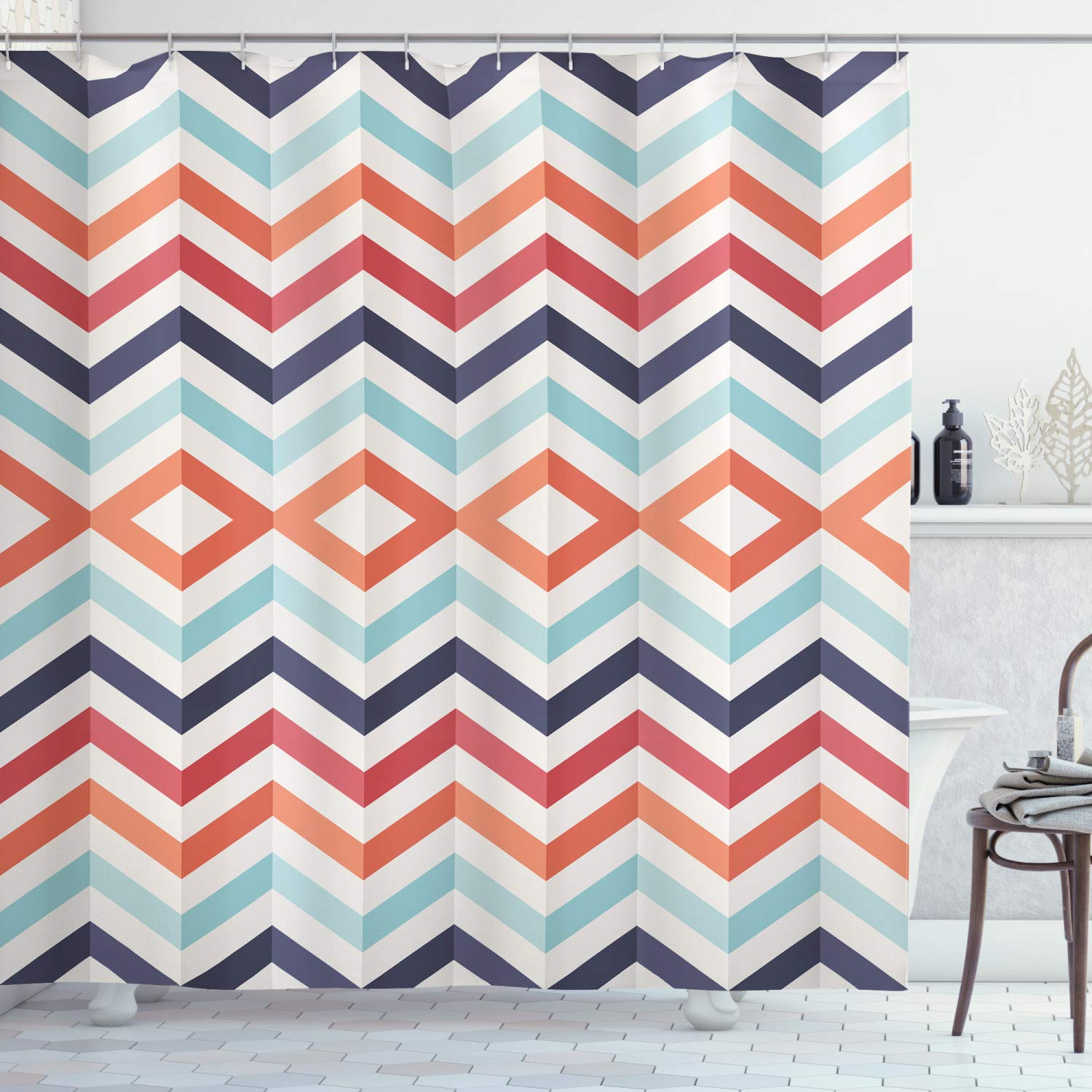 "Ambesonne Geometric Shower Curtain, Zig Zag Lines Chevron Stripes Going up and Down with Optic Effect Image, Cloth Fabric Bathroom Decor Set with Hooks, 84"" Long Extra, Orange White"