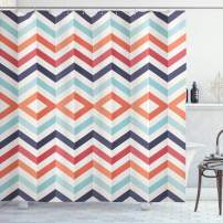 """Ambesonne Geometric Shower Curtain, Zig Zag Lines Chevron Stripes Going up and Down with Optic Effect Image, Cloth Fabric Bathroom Decor Set with Hooks, 84"""" Long Extra, Orange White"""