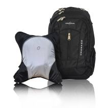 Bern Diaper Backpack, Shoulder Baby Bag, With Food Cooler, Clip to Stroller (Black/Silver Gray)