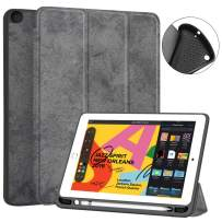JUQITECH iPad 10.2 Case 2019 iPad 7th Generation Case, Smart Cover Case with Pencil Holder Auto Sleep/Wake Soft TPU Back Shell Protective Case for iPad 7th Gen 10.2 inches A2197 A2198 A2200, Gray