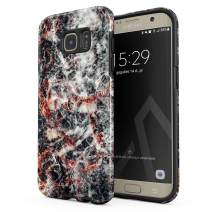 BURGA Phone Case Compatible with Samsung Galaxy S7 Edge - Volcano Island Lava Fire Black Marble Cute Case for Woman Heavy Duty Shockproof Dual Layer Hard Shell + Silicone Protective Cover