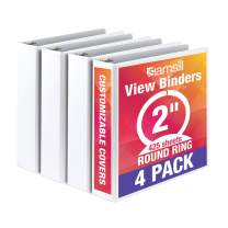 Samsill Economy 3 Ring Binder Organizer, 2 Inch Round Ring Binder, Customizable Clear View Cover, White Bulk Binder 4 Pack
