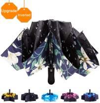 Fidus Inverted Reverse Sun&Rain Car Umbrella Large Windproof Travel UV Umbrella For Women Men - Auto Open Close(Flower Black-1)