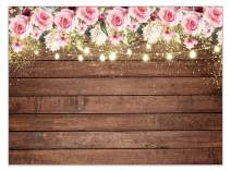 Allenjoy 7x5ft Flowers Rustic Wood Backdrop Wedding Floral Photography Background Pink Floral Wooden Texture Board Floor Bridal Shower Baby Kids Birthday Party Banner Photo Studio Props