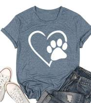 Dog Paw Print Graphic Tees for Women Dog Mom Casual T Shirt Short Sleeve Mother's Day Shirts