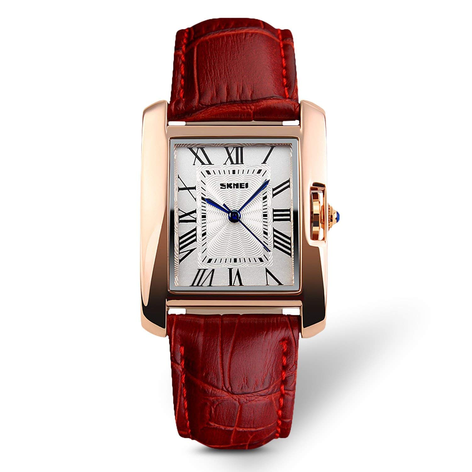 Aposon Womens Analog Watches Quartz Wristwatch Business Casual Watch Unique Dress Watch Square Dial Roman Numeral Strap Fashion Ladies Cheap Watches on Sale Birthday Gift 30M Waterproof (red)