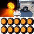 """cciyu Amber Round Side Marker Light 2"""" 9 LED Clearance Marker Lamp 10 Pcs Replacement fit for Truck Trailer Stylish Rubber Mounting Grommet and Pigtails 2 Pack White Oval Rubber Mount Sealed LED Light"""