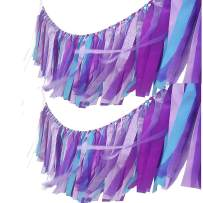 AZOWA 2 Pack Mermaid Tassel Garland Cotton Ribbon Fringe Banner for Mermaid Party Decorations Baby Shower Party Backdrops Nursery Photo Props (Mermaid (40''X 14''))