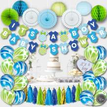 PREMIUM Baby Shower Decorations for Boy Kit   Boy Baby Shower Decorations Set   IT'S A BOY Banner, Paper Lanterns, Honeycombs   Tissue Paper Fans   Tassels   Marble Balloons   Blue Gold Green White