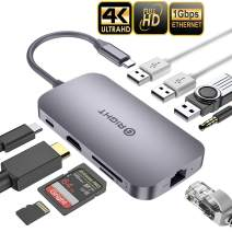 USB C Hub,【Good Texture Sturdy】 Gright 9-in-1 Type C Hub with Ethernet Port,4K USB C to HDMI,2 USB3.0,SD/TF Card Reader,Audio/Mic, USB-C Pd 3.0, Compatible for Mac Pro and Other Type C Laptops (Gray)