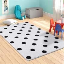 LIVEBOX Polka Dots Area Rugs, 3'x 5' Kids Play Mat Soft Plush Baby Crawling Mat Non-Slip Throw Carpetfor Teen Girl Living Room Bedroom Playroom Nursery Decor Best Shower Gift (White)