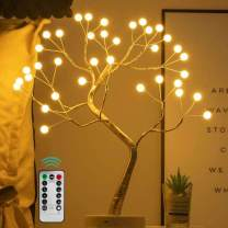 """2021 Upgrade Sparkly Fairy DIY Artificial Tree Lamp with Multifunction Remote Control, Christmas Bonsai Tree Night Lights, for Lighting Bedrooms Desktop Party Decoration (36 Pearl/Warm White/20"""" )"""