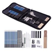 H & B Sketching Pencils Set, 32-Piece Drawing Pencils and Sketch Kit, Complete Artist Kit Includes Graphite Pencils, Pastel Stick, Sharpener & Eraser, Professional Sketch Pencils Set for Drawing