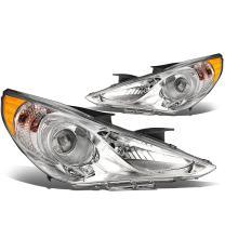 DNA Motoring Chrome amber HL-OH-HSON11-CH-AM Pair of Headlight [for 11-14 Sonata]