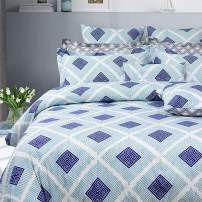 FADFAY Blue Stripe with Rhombus Geometry Duvet Cover Set Gray Reversible Super Soft 100% Cotton,3-Pieces King, California