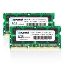 ROYEMAI DDR3 16GB Kit (2X8GB) PC3L 12800S 8GB DDR3 1600 Sodimm RAM 2Rx8 1.35V 204pin CL11 Notebook RAM Memory