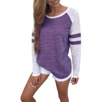 KESEELY Womens Clothing Fashion Ladies Long Sleeve Splice Blouse Tops Clothes T Shirt