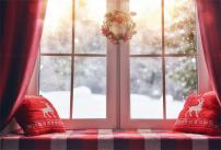 AOFOTO 10x7ft New Year Interior Decoration Backdrop Bay Window Sill Photography Background Christmas Holiday Garland Wreath Winter Snowflake Pillow Family Party Photo Studio Props Vinyl Wallpaper