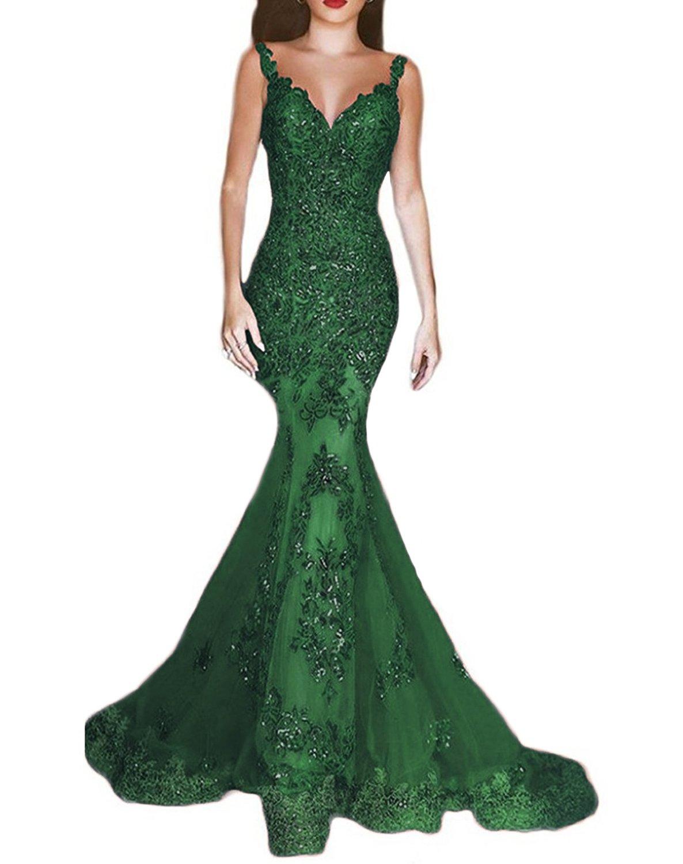 OYISHA Women's Formal Sequin Mermaid Prom Dresses Long V-Neck Wedding Evening Pageant Dress EV44 Green 2