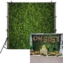 Allenjoy 8x8ft Green Leaves Wall Backdrop for Photography Grass Floordrop Pictures Background Spring Party Ground Decor Outdoorsy Theme Newborn Baby Shower Lover Wedding Photo Studio Props Drop