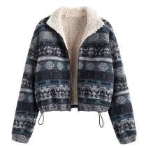 ZAFUL Women'sFashion Tribal Print Plaid Faux Fur Lined Jacket Front Open Zip up Casual Jacket Coat