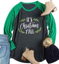 Plus Size It's Christmas Y'all Baseball T-Shirt Women 3/4 Sleeve Raglan Holiday Tops