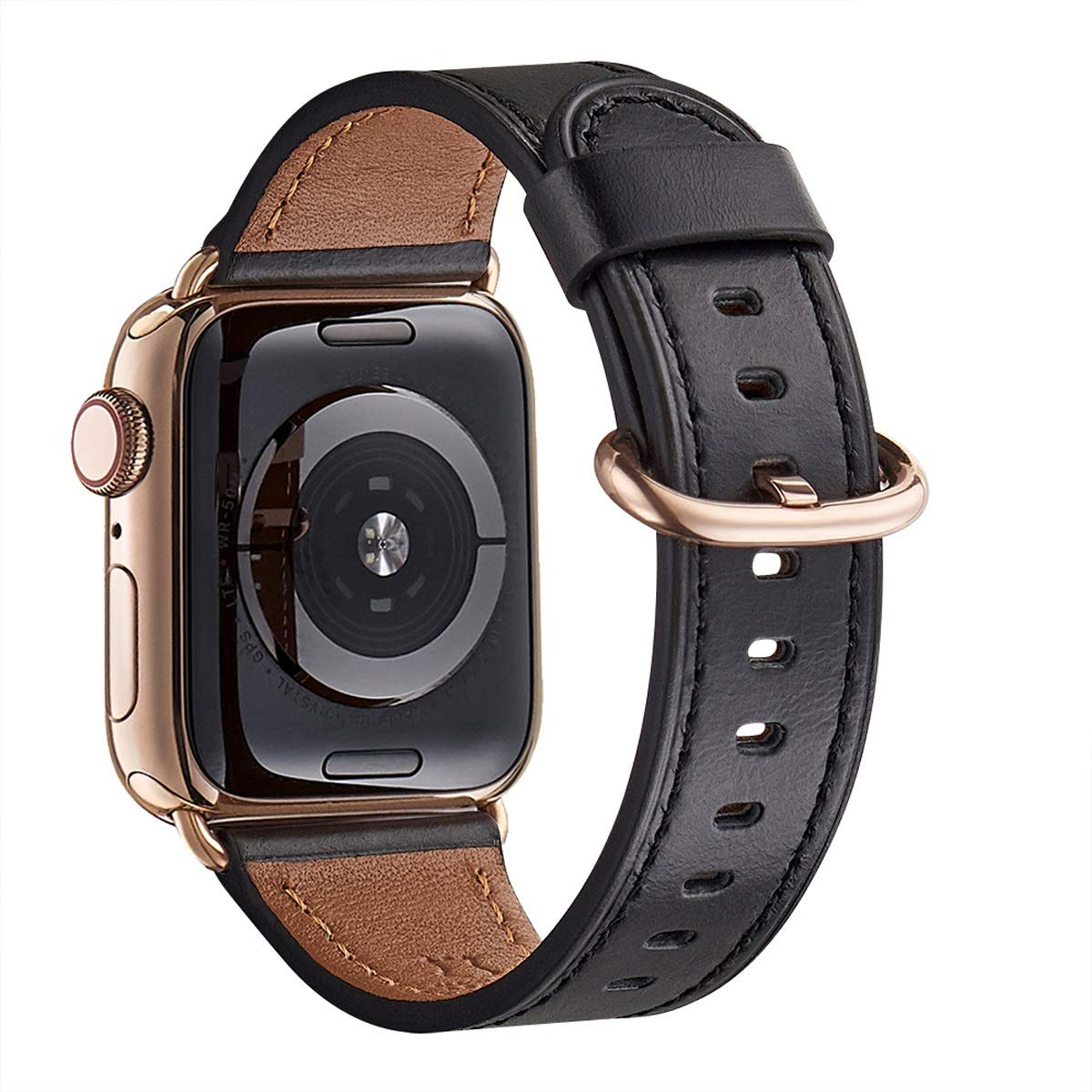 WFEAGL Compatible iWatch Band 40mm 38mm, Top Grain Leather Band with Gold Adapter (The Same as Series 4 with Gold Stainless Steel Case in Color) for iWatch Series 4/3/2/1(Black Band+Gold Adapter)