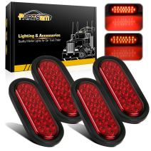 Partsam 4Pcs 6 Inch Oval Led Trailer Tail Lights Red 24 LED Grommet Mount, 12V 6 inch Oval Red Stop Tail Turn Brake Truck Tractor Trailer Boat Sealed Marker Clearance Lights Waterproof Flush Mount